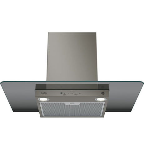 "30"" WALL-MOUNT GLASS CANOPY CHIMNEY HOOD GE PROFILE - SLATE PVW7301EJESC"