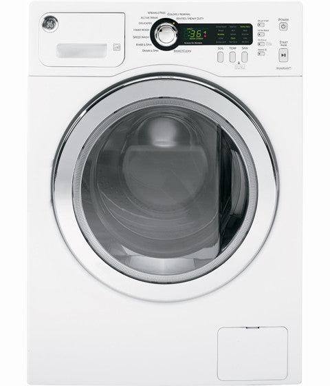 24 inch wide front load washer. 2.6 cu ft capacity, Energy Star qualified (CEE Tier III), stainless steel drum, internal water heater, 1400 rmp, LED display GE - White