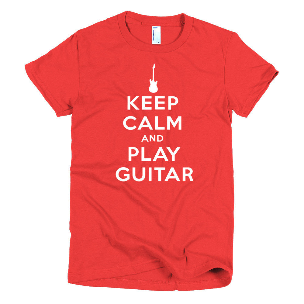 Keep Calm and Play Guitar Red Short sleeve women's t-shirt
