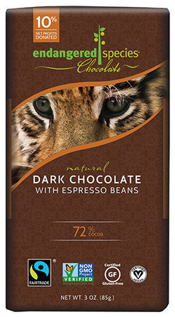 Endangered Species Chocolate | Dark Chocolate with Espresso Beans