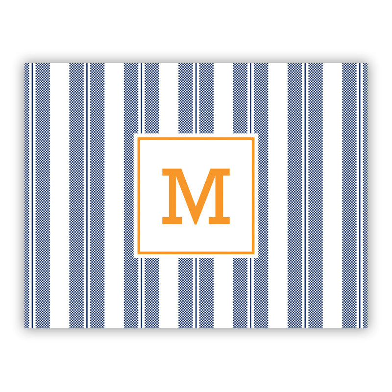 Personalized Folded Notes Vineyard Stripe Navy by Boatman Geller