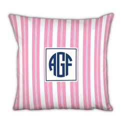 Personalized Square Pillow Vineyard Stripe Pink by Boatman Geller