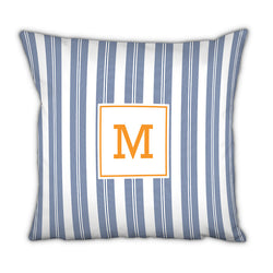Personalized Square Pillow Vineyard Stripe Navy by Boatman Geller