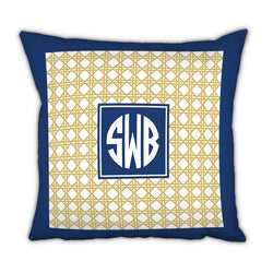 Personalized Square Pillow Parker Border Navy by Boatman Geller