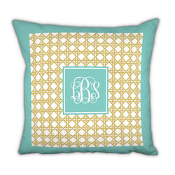 Personalized Square Pillow Parker Border Aqua by Boatman Geller