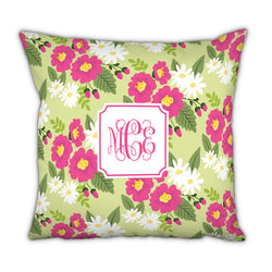Personalized Square Pillow-Lillian Floral Bright by Boatman Geller