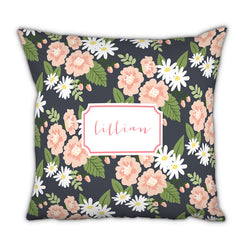 Personalized Square Pillow-Lillian Floral by Boatman Geller