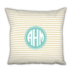 Personalized Square Pillow Rope Stripe Gold by Boatman Geller