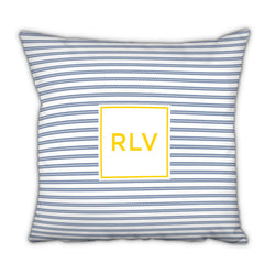 Personalized Square Pillow Rope Stripe Navy by Boatman Geller