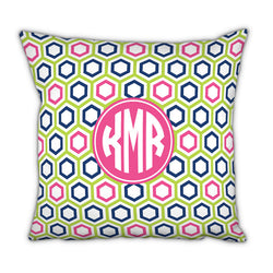 Personalized Square Pillow Maggie Lime and Navy by Boatman Geller