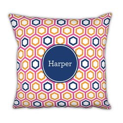 Personalized Square Pillow Maggie Raspberry and Tangerine by Boatman Geller