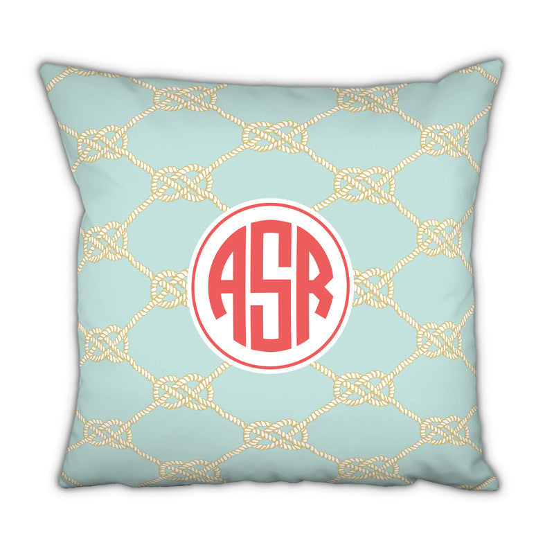 Personalized Square Pillow Nautical Knot Sea by Boatman Geller