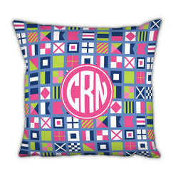 Personalized Square Pillow Nautical Flags Pinks by Boatman Geller