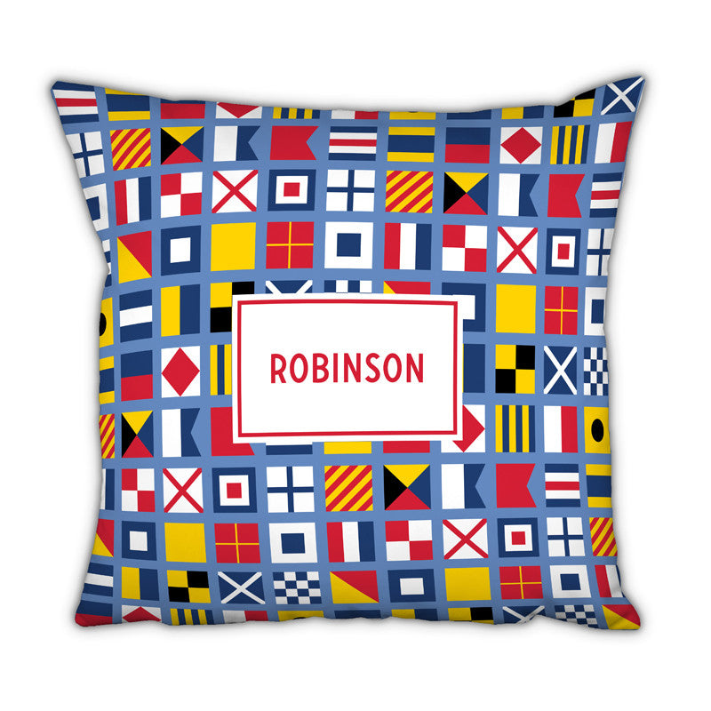 Personalized Square Pillow Nautical Flags by Boatman Geller