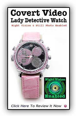 Lady Detective Pink Covert Video Night Vision Watch