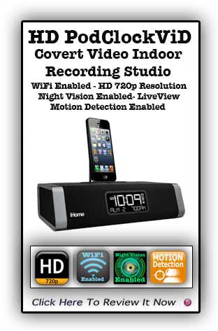 HD IPodClockViD Covert Video Recording WiFi Enabled