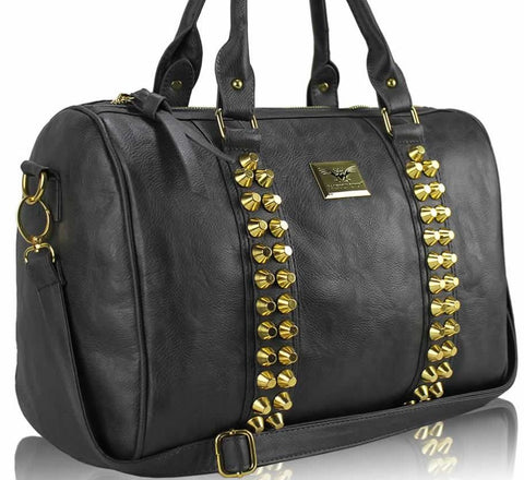 Γυναικεία τσάντα LS00240 - Grey Stunning Studded Barrel Bag With Long Strap