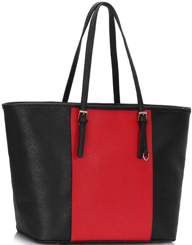 Γυναικεία τσάντα LS00297A - Black / Red Women's Large Tote Bag
