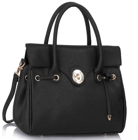 Γυναικεία τσάντα LS00301L - Black Twist Lock Flap Grab Shoulder Bag