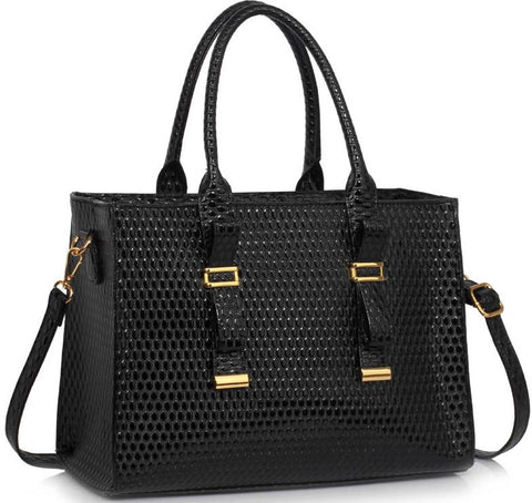 Γυναικεία τσάντα LS00310A - Black Buckle Detail Tote Shoulder Bag