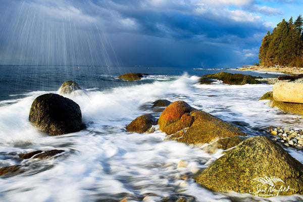 Flume beach wave spray, A Moment in Time by Shel Neufeld, Canadian landscape and nature photographer