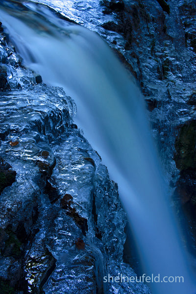 Icy Blue Waterfall, Roberts Creek, British Columbia, Canada by Shel Neufeld. LIMITED EDITION
