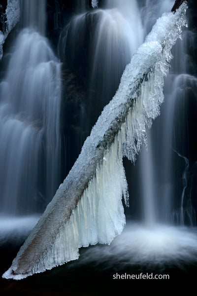 Winter waterfall photograph - Waterfall wall art prints by Shel Neufeld