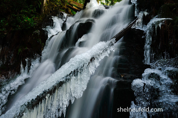 Canadian Winter Icy Waterfall Photograph by Shel Neufeld WildArt Photography