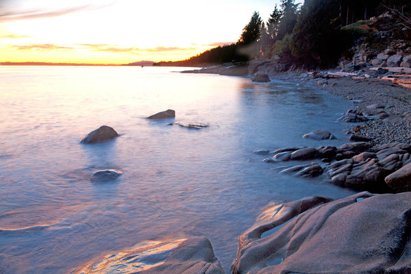 Magical light Henderson Beach, Roberts Creek, BC - Landscape Coastal Photograph by Shel Neufeld of Canada