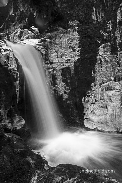 black and white waterfall photography by Shel Neufeld