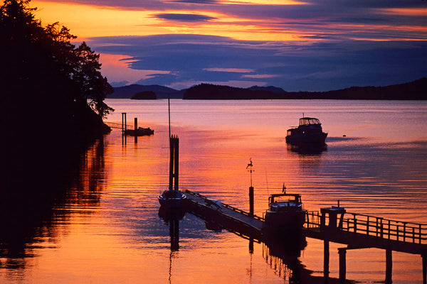 Pender Island, BC Beautiful Sunset lights up the sky - Coastal Wall Art by Shel Neufeld
