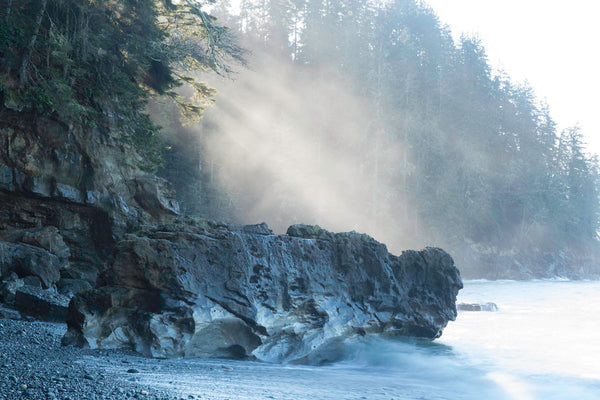 Morning Mist on Sombio's rocky shore - Coastal Wall art photography print by Shel Neufeld