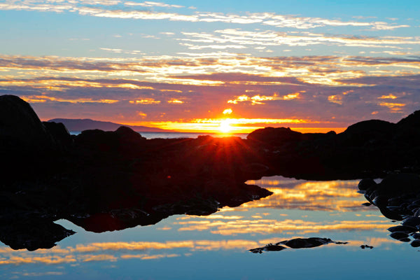 Water reflections at Sombrio Beach, BC, Canada - Sunrise photography print by Shel Neufeld of WildArt Photography