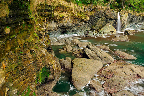 beautiful sombrio beach waterfall british columbia canada nature photograph by Shel Neufeld