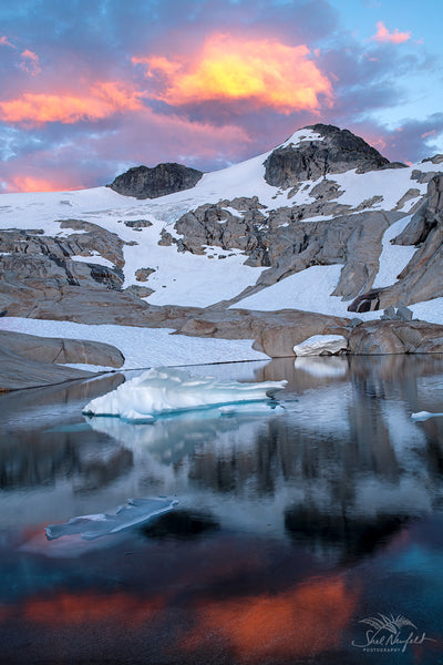 Iceberg Lake by Tarn Sunset and Water Reflection - Fine Art Photography Print by Shel Neufeld, Canadian Photographer