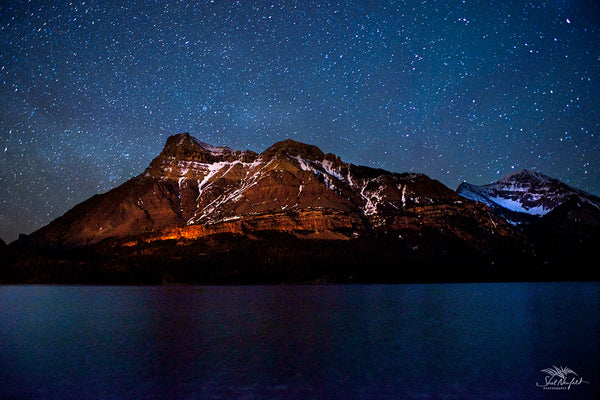 Waterton Peak at Night