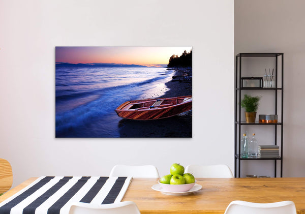 Wooden boat on beach with sunset, Canvas Fine Print in Dining Room - orange, blue and pink sky - Nautical photography by Shel Neufeld, Canadian nature Photographer