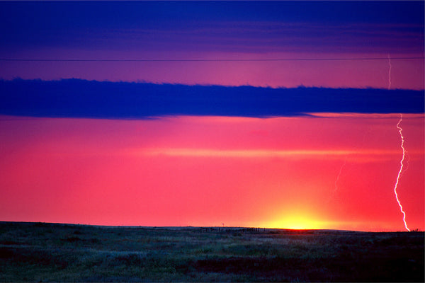Lightning Photography with Saskatchewan Sunset Print for Home Decor by Shel Neufeld