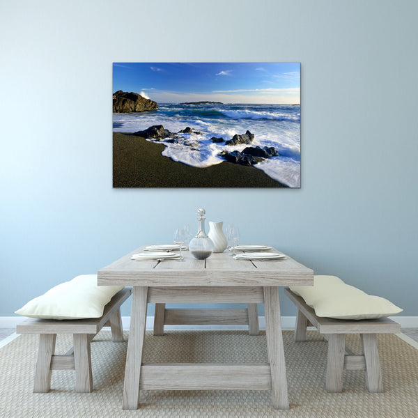 Blue Sky Ocean Waves Landscape Photography Fine Art Print on Dining Room Wall by Canadian nature photographer Shel Neufeld of WildArt Photography  Edit alt text