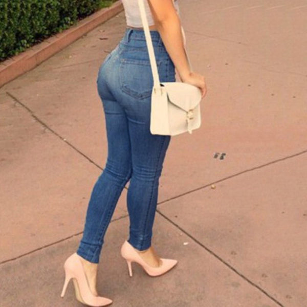 High-Waisted Slimming Pencil Jeans