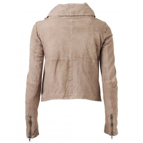 Stylish Solid Color Skew Zippered Jacket