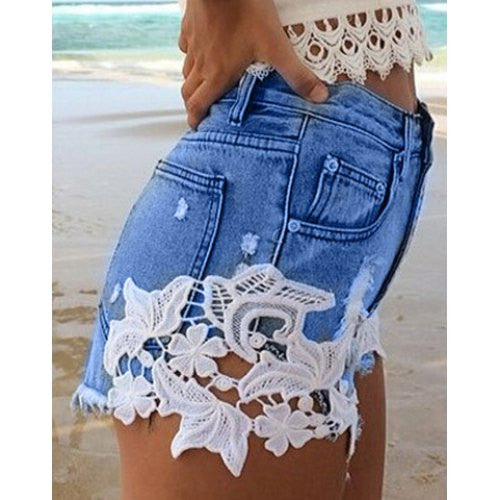 Stylish Hollow Out Lace Spliced Denim Shorts