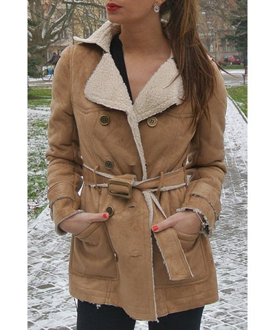 Stylish Long Sleeve Belted Double-Breasted Coat