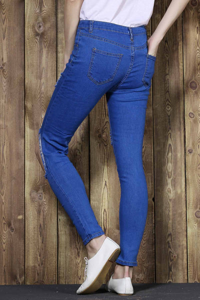 Trendy Broken Hole Bodycon Jeans