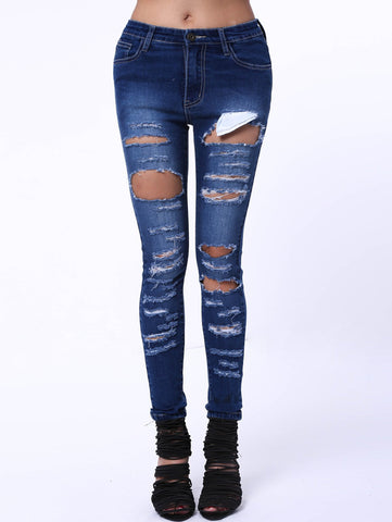 Simple Style Women's Mid Waist Ripped Jeans