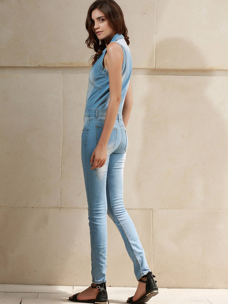Stylish Turn-Down Collar Sleeveless Denim Jumpsuit