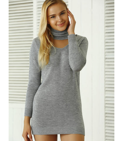 Ribbed Plain Sweater Dress