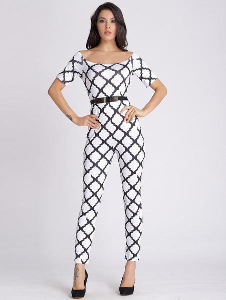 U Neck Printed Slimming Jumpsuit