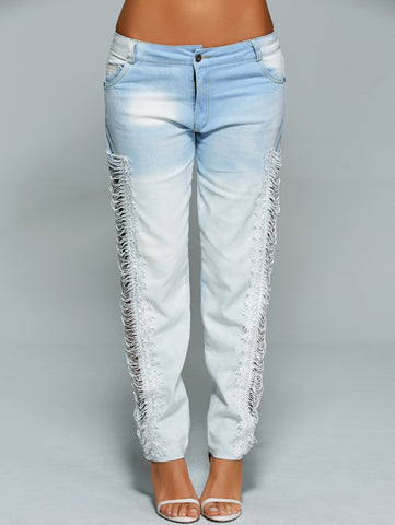Lace Hollow Out See Through Jeans