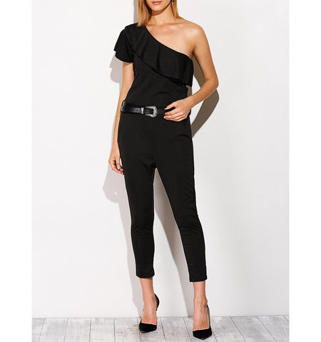 Capri One Shoulder Trendy Jumpsuit in Black